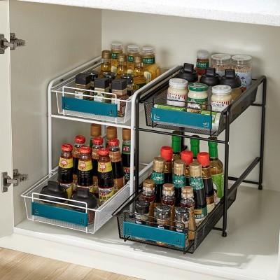 厨房橱柜双层推拉式调料用品置物架家用下水槽收纳架台面整理架
