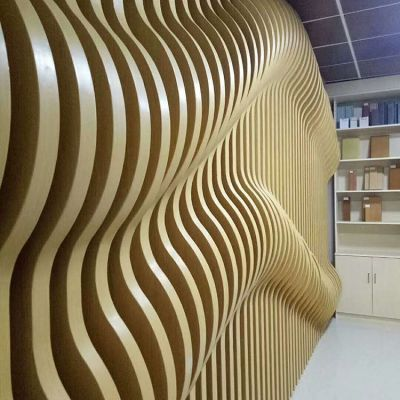供应波浪铝板幕墙  弧形铝方通 弧形铝格栅