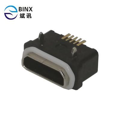 卧式micro防水母座  尾插 microusb防水 5P IP66 板上
